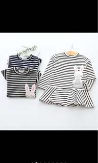 Kid baby girl long sleeved stripes rabbit bunny top shirt toddler