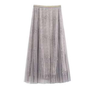 🔱 (More cols) A flare mesh overlay embellished lace skirt