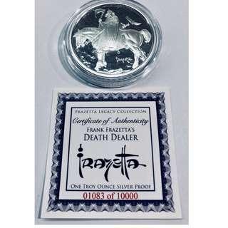Frank Frazetta Death Dealer 1 oz. Silver Proof Coin. With COA