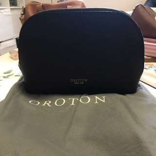Oroton black makeup bag