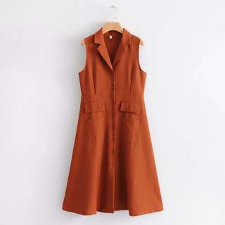 (More cols) Trenmot hip and flare collared Dress