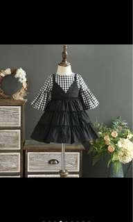 Kid girl long sleeved fake 2 piece checkers dress toddler kid