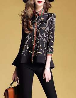 Printed luxe collared button blouse