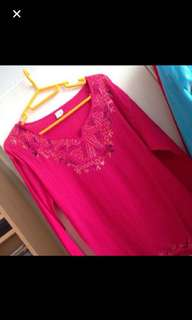 Fuschia pink embroidered Tunic top in crushed cotton