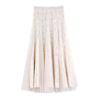 (More cols) Pocketed lace Peek Detail flare Skirt
