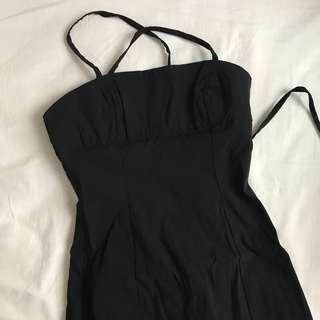 Black Midi Backless Dress