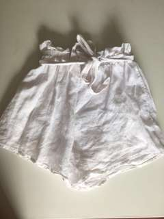 White cotton tie up shorts size 6