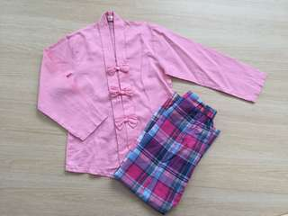 Pink Kebaya with Checks Kain