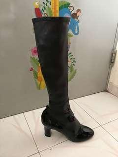 ❤️ LV Long Boots Leather 37.5 Louis Vuitton Black lamb leather long boots 👢