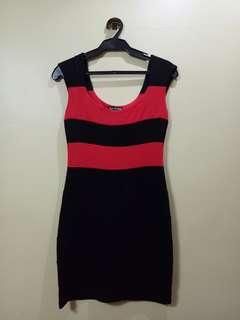 Read and black stripes dress