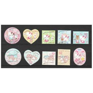 JAPAN 2015 GREETINGS HELLO KITTY (NATIONAL EDITION) 52 YEN COMP. SET OF 10 STAMPS IN IN FINE USED CONDITION