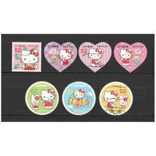 JAPAN 2015 GREETINGS HELLO KITTY (TOKYO EDITION) 52 YEN COMP. SET OF 7 STAMPS IN FINE USED CONDITION