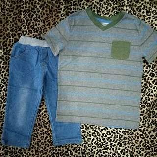 Kaos set jeans anak