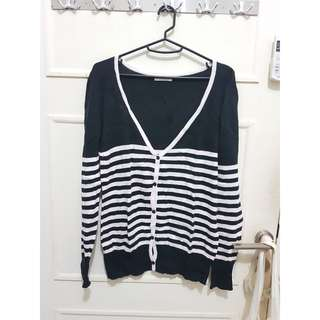 New york and company black and white stripes cardigan