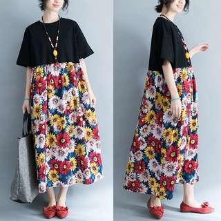 2018 summer large size women's clothing art flower long skirt dress
