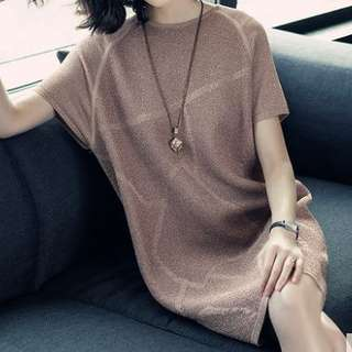 Knitted embossed pattern tunic