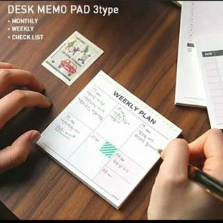 weekly memo pad