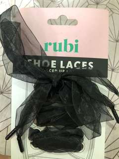 RUBI BY COTTON ON LACED UP LUXE BLACK CHIFFON SHOE LACES