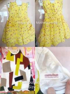 Yellow dress and camouflage dress