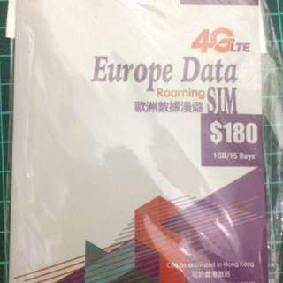 歐洲 4 G 電話卡 1GB 15日  全歐洲、俄羅斯都用得