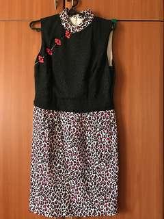 Chinese Collar Leopard Print cheongsam style dress