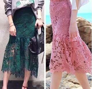 INSTOCK Lace Drop Waist Pleat Pencil Skirt