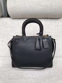 COACH Black Rogue Leather Shoulder Bag
