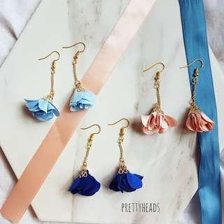 Korean floral tassel earrings
