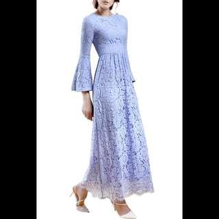Baby Blue Designer Lace Dress #carouraya