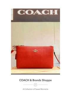 💁♀️SALE! 💯% Authentic Coach Women Double Sling Bag / Clutch (Black & Red)