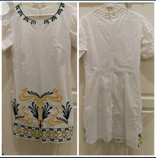 M White Embroidery Dress