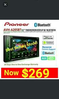 "Pioneer AVH 205BT (Brand New in box & sealed) Bluetooth Car Stereo 6.2"" LED Touchscreen DVD/CD/USB/AM/FM Player with Reverse Camera Support. Usual Price: $499.90 New Low price: $269. whatsapp 85992490 to pick up Today."