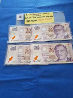 (10%DISCOUNT)  $2.00 MILLENNIUM NOTES.   2 PAIRS.   BOTH SETS ARE UNCIRCULATED AND RUNNING NUMBERS.