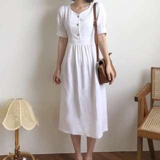 Bubble Sleeves V Neck Vintage Dress