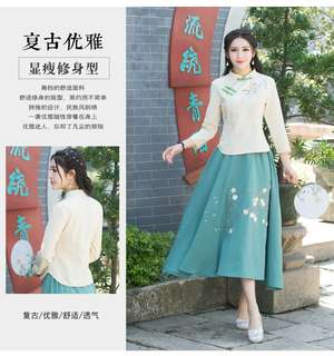 民国风 1920s chinese style blouse and skirt