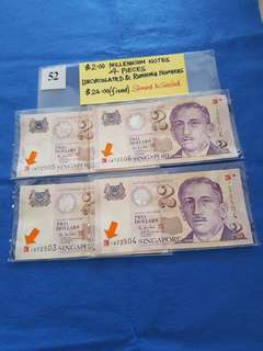 (10%DISCOUNT)  $2.00 MILLENNIUM NOTES.    4 PIECES.    ALL UNCIRCULATED AND RUNNING NUMBERS.