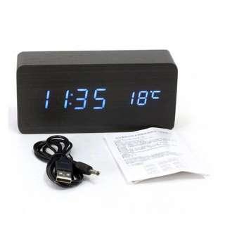 Digital Blue LED Alarm Clock with Temperature Display