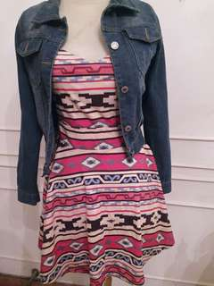 Girly Set Look (Dress+Denim Jacket)
