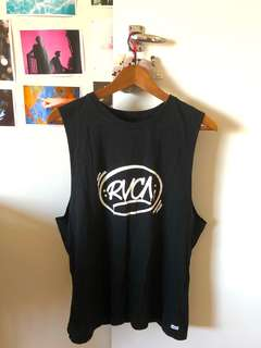Tank top Black rvca beach sleeveless shirt black festival