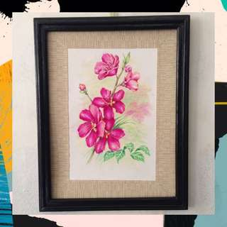 "Acrylic + Watercolor painting - ""Flora #5"" (ready to hang)"