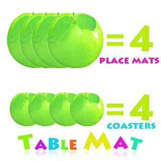 Placemat and Coastet Set - GREEN APPLE