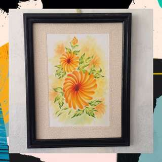 "Acrylic + Watercolor painting - ""Flora #7"" (ready to hang)"