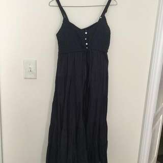 PRICE DROP * Navy Cotton Dress with tiered ruffle hem