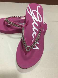 Authentic Guess Platform Slippers In Hot Pink