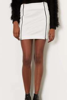 Topshop White Skirt with Black Zip