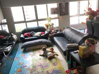3 plus 2 pu leather sofa