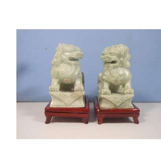 Vintage Henan jadestone foo dogs pair display wood stand circa 1970s unused