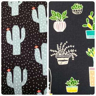Blue Black Cactus fabric for customise purse, tote bag
