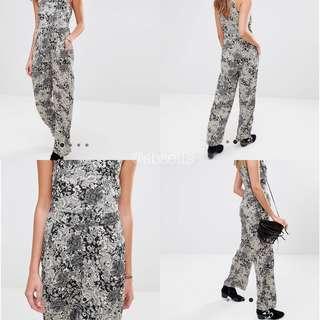 BRAVE SOUL Floral Jumpsuit Black Combo