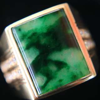 Type A Green Burmese jadeite ring in 22k yellow gold & natural diamonds 11.37g size US10